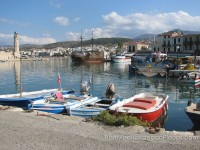 Rethymnon on a background of fishing schooners