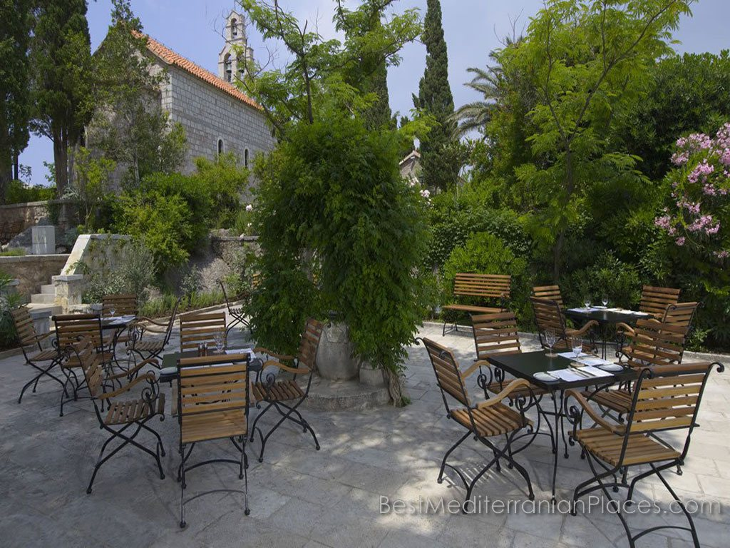 On the territory of the island of Sveti Stefan, Montenegro a few small restaurants serve the hotel guests