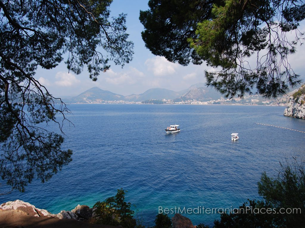 The beautiful panorama of Budva Riviera offers the island of Sveti Stefan