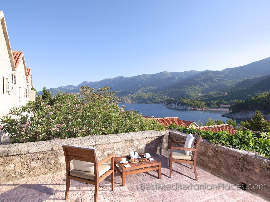 On the island of Sveti Stefan, enjoy stunning views of the Budva Riviera, coastline and mountains