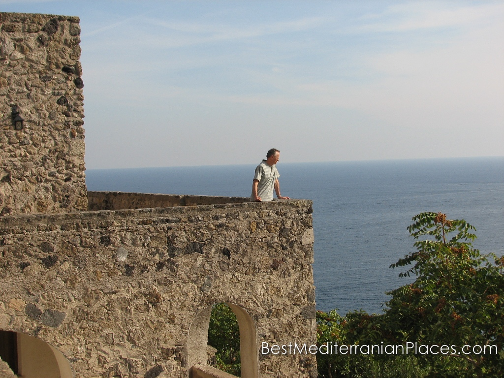 On the grounds of the castle of Aragon perfectly visible to the Tyrrhenian Sea Naples