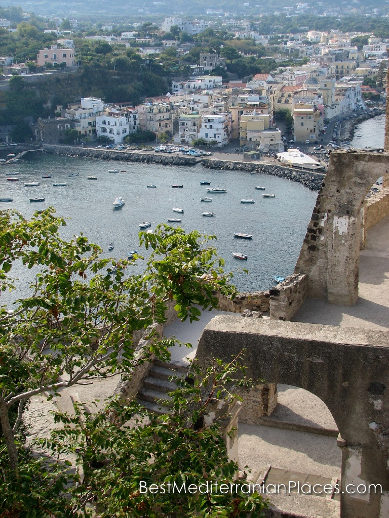 View from the terrace of the Castello Aragonese of the fishing village of Ischia Ponte