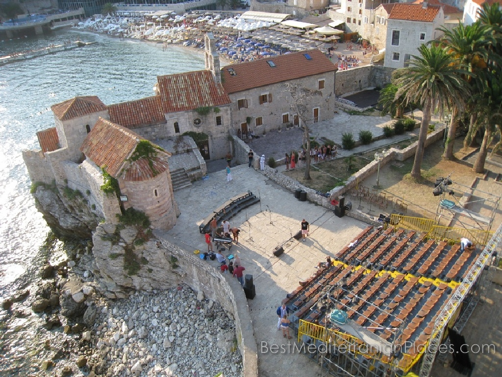 On the area of the old Budva preparing performance of musicians