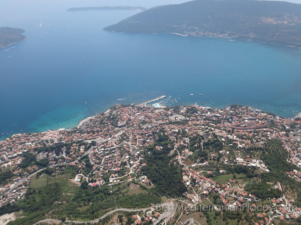 Panorama of Herceg Novi and the entrance to the Bay of Kotor from the height of a nearby mountain