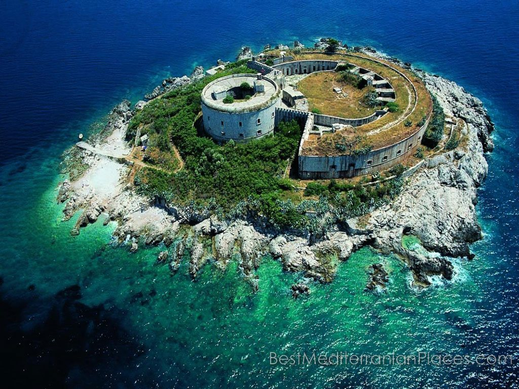 Fort Mamula on a tiny island near Herceg Novi. Spend holidays at the resort, you can visit the fort.