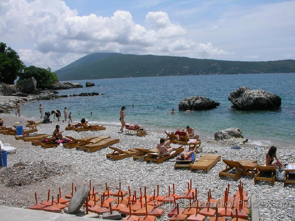 One of the most beautiful pebble beaches of Herceg Novi, where you can spend your vacation