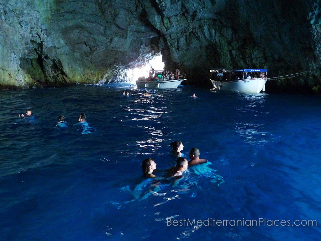Blue Cave Herceg Novi is so big that it can accommodate several boats.