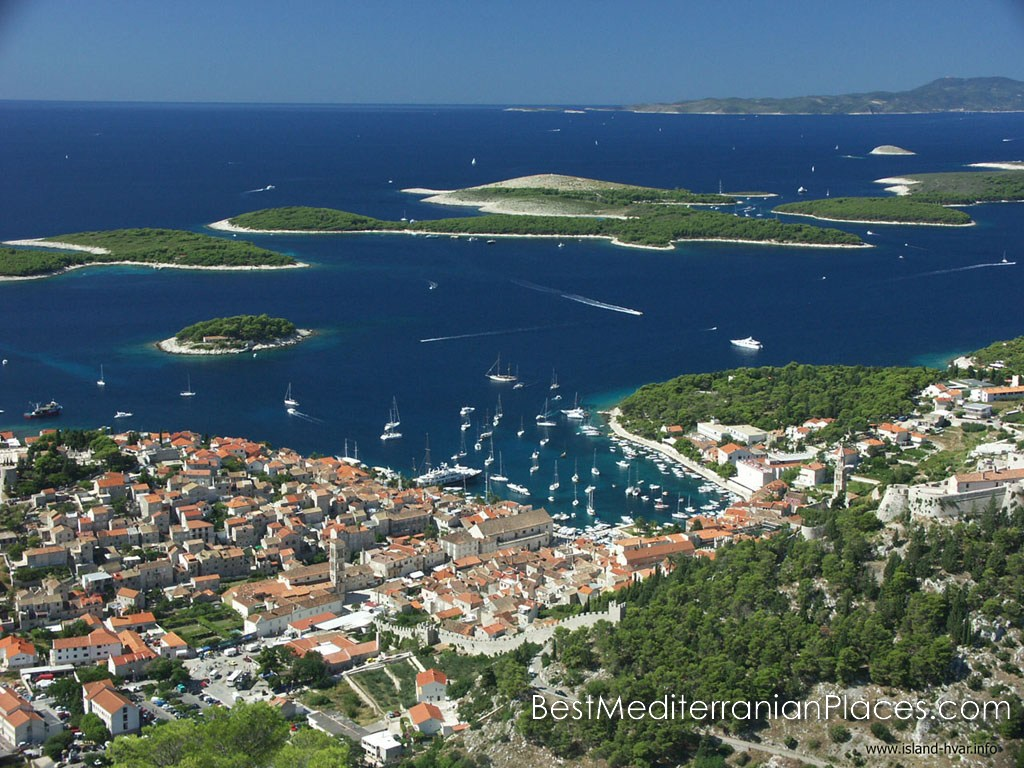 View of the bay of the town of Hvar