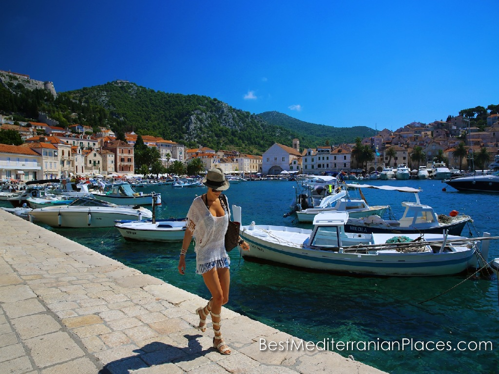 Quay of Hvar town and parking boats