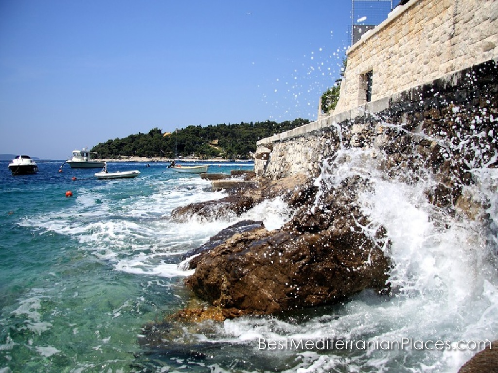 Sea surf at the walls of the old town of Hvar, Croatia