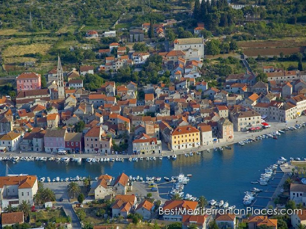 The old town of Jelsa Landscape with a bird's eye view