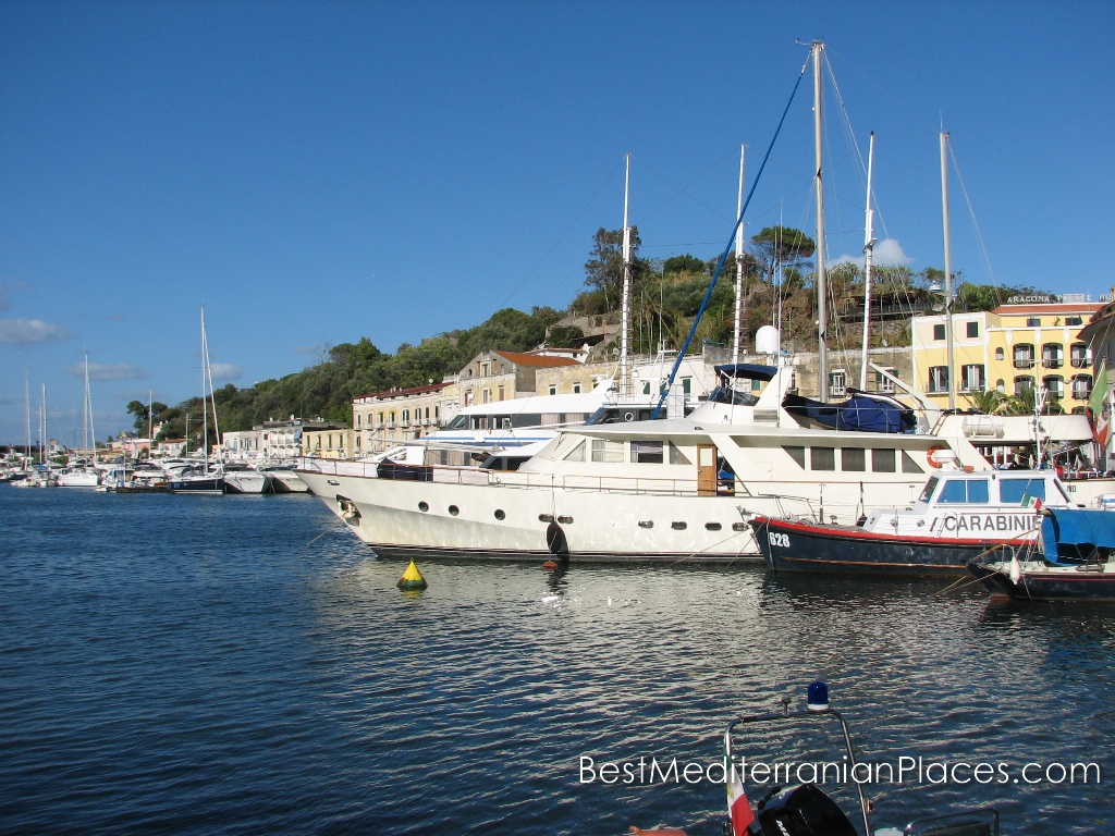 Yachts and boats in the bay of Ischia