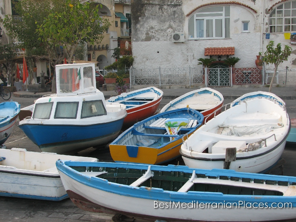 Fishing boats parked right on the waterfront