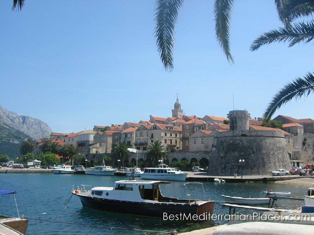 View of the old town and the fortress from the marina of the island of Korcula, Croatia