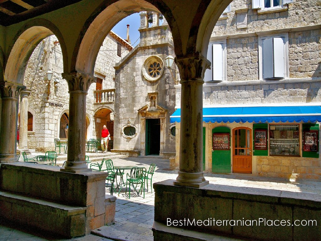 Sunny afternoon in the old town of Korcula, island of Korcula