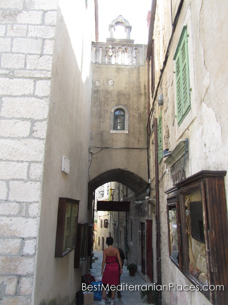In the narrow streets of the old town of Korcula Island