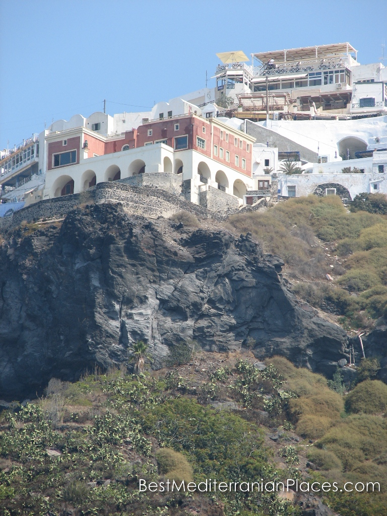 Hotels and houses are right on the cliffs of Santorini