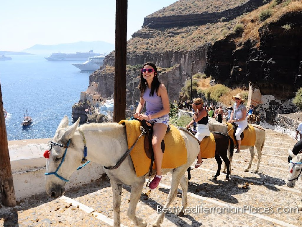 Tourists really like to ride a donkey