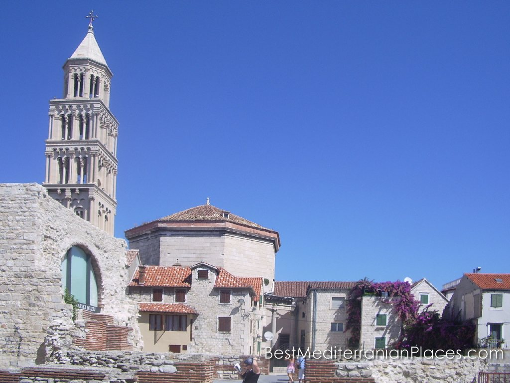 The octagonal mausoleum of Diocletian and Bell tower of St. Domnius, Split (Croatia)