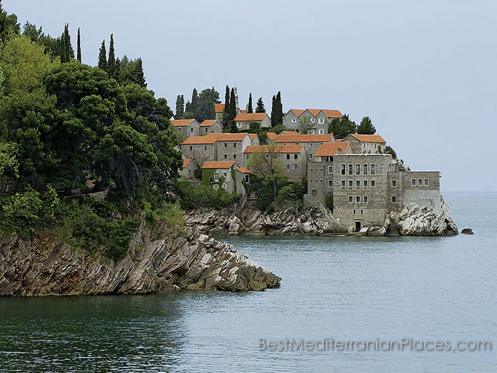 Panoramic view of the island of Sveti Stefan from the next bay