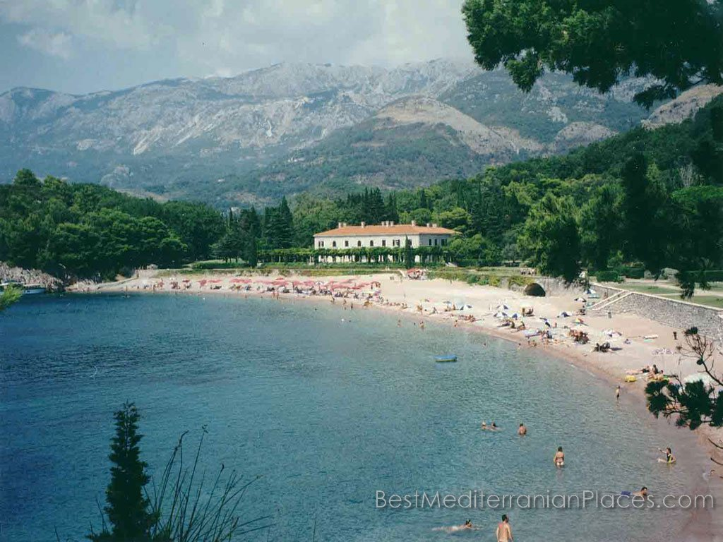 Some of the beaches of Sveti Stefan are pure sand and some sandy and pebble