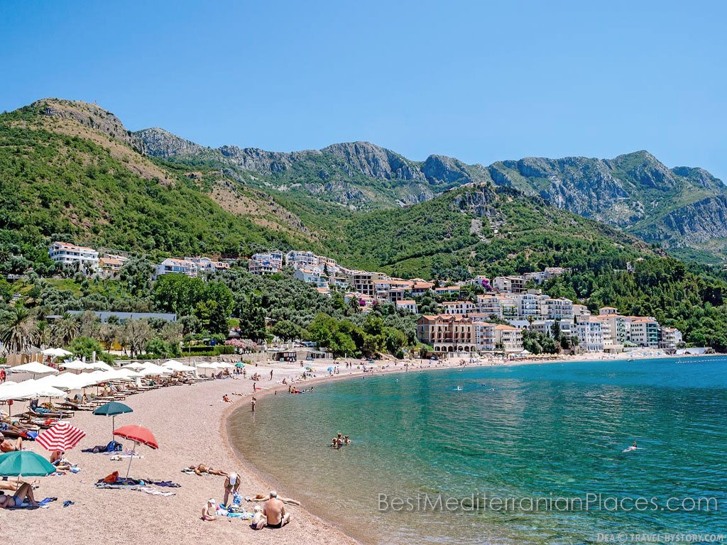 Panorama of the coast, the beach and the village of Sveti Stefan