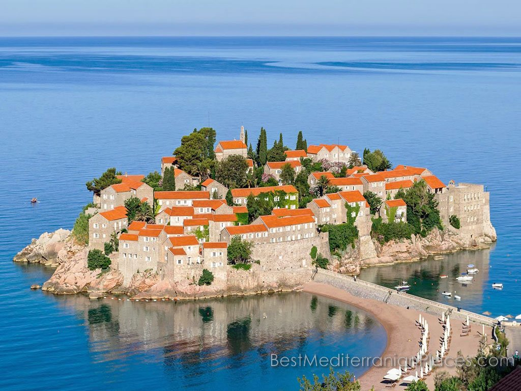 Island of Sveti Stefan in the early rays of the sun