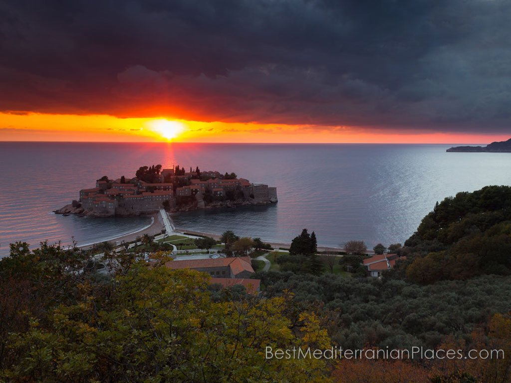 The image of the island of Sveti Stefan at sunset completes our story about a wonderful vacation in the beautiful resort