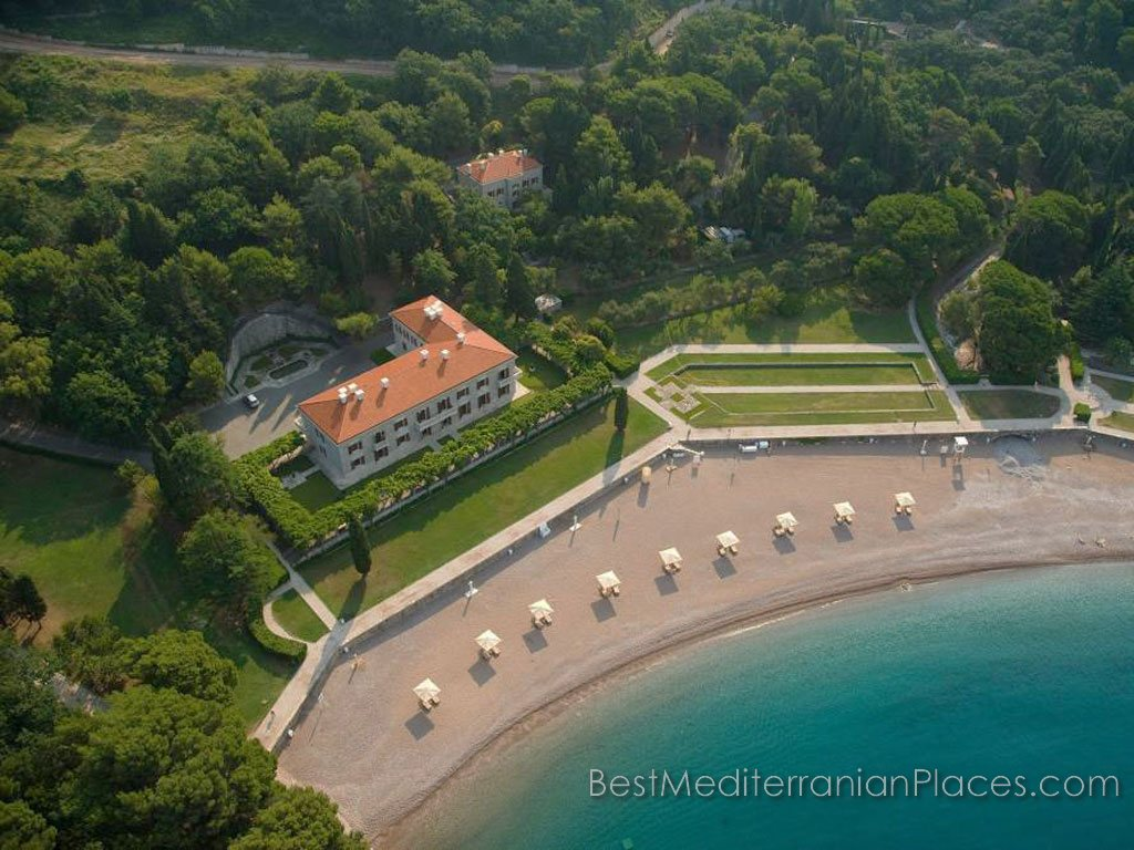 Villa Milocer. Queen's Beach, which is only open to guests of the villa