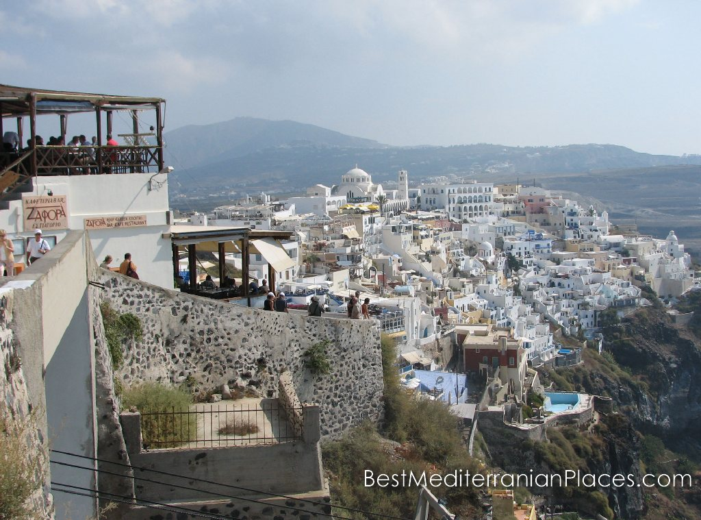 Houses of the Thira resemble white swallows' nests