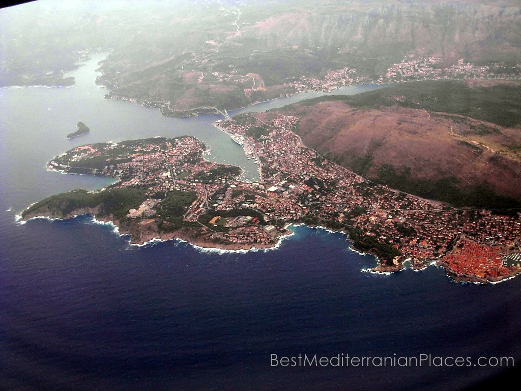 In the picture from a great height, you can see all parts of Dubrovnik.