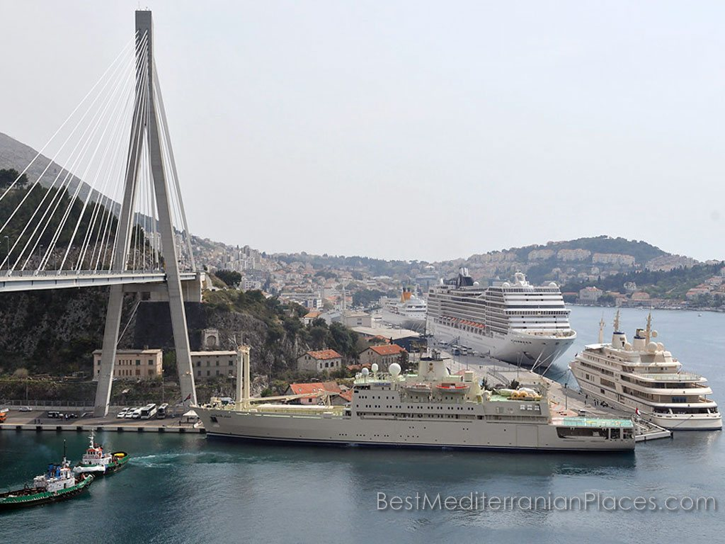 Huge ocean cruise ships in the port of Dubrovnik Cargo