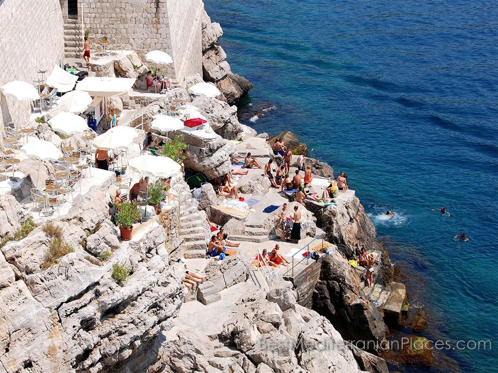 The beach Buza Dubrovnik. This little beach was chosen by locals for swimming under the old city walls.