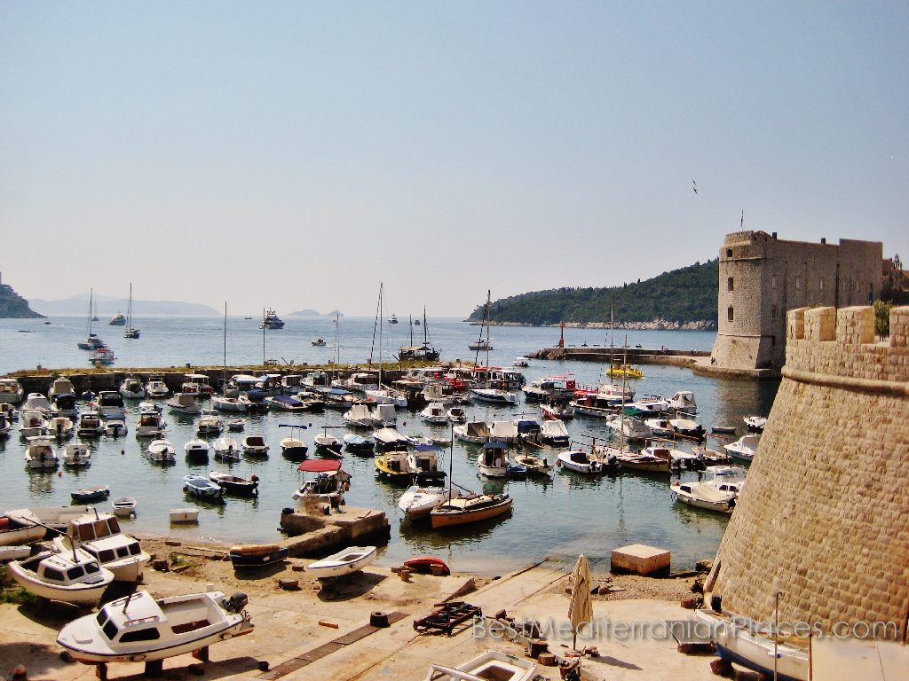 Marina at the entrance of the old harbor of Dubrovnik