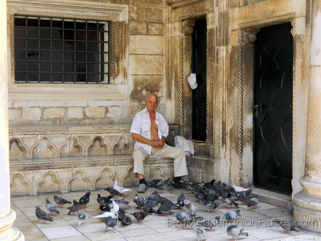 An elderly Croat feeding pigeons on the steps of the house built by the Venetians