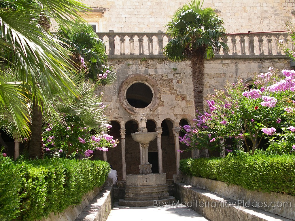 The garden in Romanesque and Gothic cloister of the Franciscan Monastery, Dubrovnik